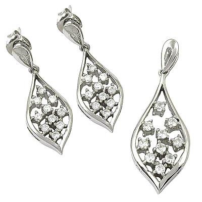 Romantic Cubic Zirconia Gemstone Silver Earings & Pendant Set