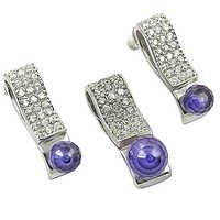 New Antique Amethyst Gemstone Silver Earings & Pendant Set