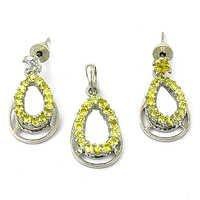 Rocking Style Citrine Gemstone Silver Earings & Pendant Set