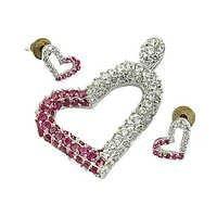 Lovely Heart Cubic Zirconia & Pink  Cubic Zirconia Gemstone silver Earings & Pendant Set