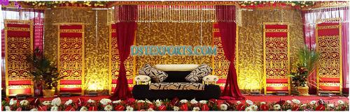 Indian Wedding Stage Golden Flowered Backdrop