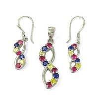 Pretty Pink Cubic Zirconia & Yellow Cubic Zirconia Earings & Pendant Set