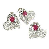 Lovely Heart Cubic Zirconia & Pink  Cubic Zirconia Gemstone silver Earings & Pendant