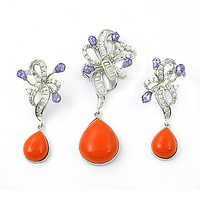 Valuable Cubic Zirconia & Synthetic Coral Earings & Pendant Set