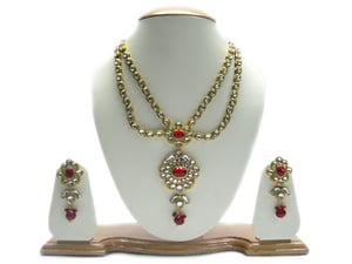 kundan style fashion necklace set, artificial diamond necklaces, cheap fashion jewelry necklace