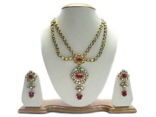 kundan style fashion necklace set, artificial diamond necklaces, cheap fashion jewelry necklace