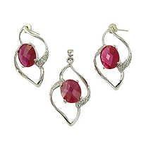 Unique Cubic Zirconia & Pink Cubic Zirconia Silver Gemstone Earings & Pendant Set