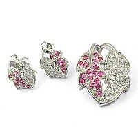 Leaf Design Silver Cubic Zirconia & Pink Cubic Zirconia Gemstone Earings & Pendant Set