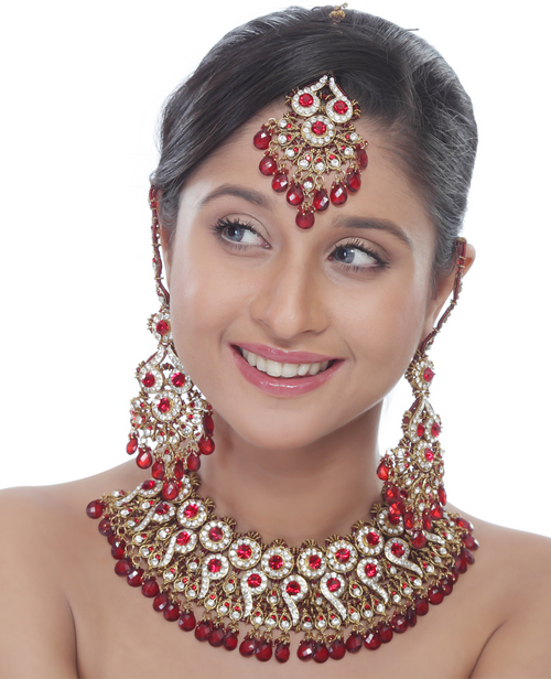 red stone wedding, heavy necklace set in low price, full set immitation jewellery from india