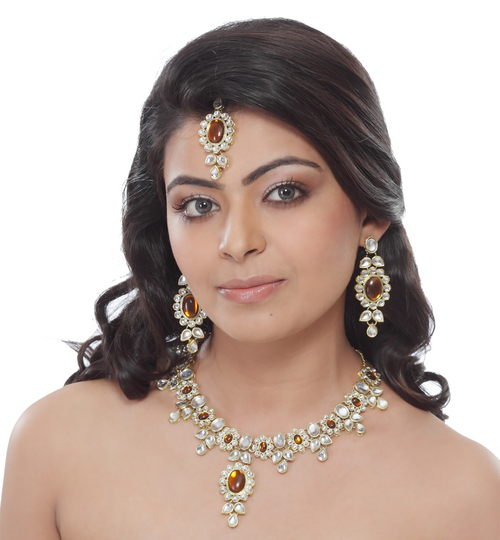 manufacturer from india, diamond necklace styled fashion jewelry set, high quality fashion je