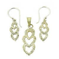Beautiful Gold Plated Cubic Zirconia Silver Gemstone Earings & Pendant Set