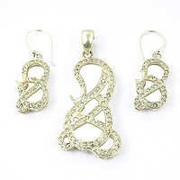 Gold Plated Cubic Zircon Silver Gemstone Earings & Pendant Set