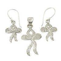 Most Fashionable Cubic Zirconia Silver Gemstone Earings & Pendant Set