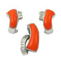Charming Cubic Zirconia & Synthetic Coral Silver Gemstone Earings &  Pendant Set