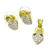 Cool Cubic Zirconia Silver Gemstone Earings & Pendant Set