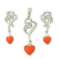Cubic Zirconia & Synthetic Coral Earings & Pendant  Set With Lovely Heart