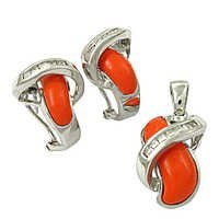 Party Wear Cubic Zirconia & Synthetic Coral Silver Gemstone Earings & Pendant Set