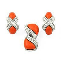 Hot Cubic Zirconia & Synthetic Coral Silver Gemstone Earings & Pendant Set