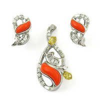 Cubic Zirconia & Synthetic Coral & Yellow Cubic Zirconia Silver Gemstone Earings & Pendant Set