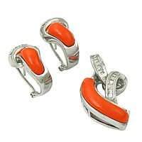 Fastival Cubic Zirconia & Synthetic Coral Silver Gemstone Earings & Pendant