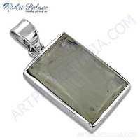 Vintage Rainbow Moonstone Gemstone Silver Pendant