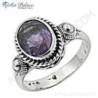 Sterling Silver Gemstone Ring With Amethyst