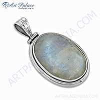 Victorian Rainbow Moonstone Gemstone Silver Pendant