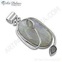 Unique Rainbow Moonstone Gemstone Silver Pendant