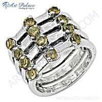 simple and charming Citrine Gemstone Silver Ring