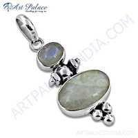 Lastest Luxury Rainbow Moonstone Gemstone Silver pendant