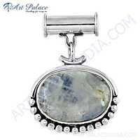 Fastival Designer Rainbow Moonstone Gemstone Silver Pendant