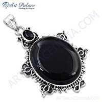 Party Wear Designer Black Onyx Silver Gemstone Earings & Pendant Set
