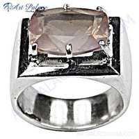 Exclusive Rose Quartz Gemstone Silver Ring