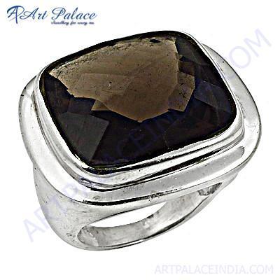 Classic Smokey Quartz Silver Gemstone Ring