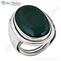 New Fashionable Green Onyx Silver Gemstone Ring