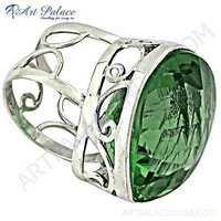 Rocking Style Peridot Silver Gemstone Ring