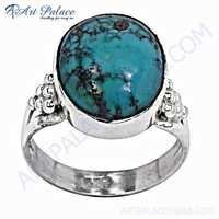 Excellent Oval Turquoise Silver Gemstone Ring