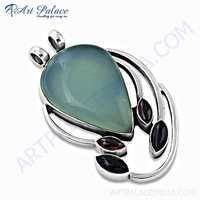 Exclusive Multi Gemstone Silver Pendant