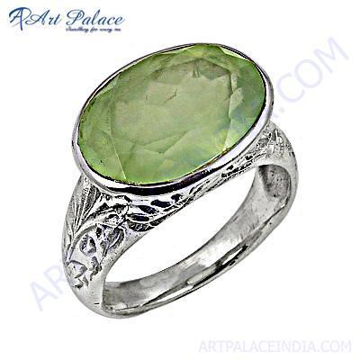 Excellent New Fashion Prenite Silver Gemstone Ring