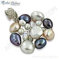 Excellent New Fashionable Pearl & Multi CZ Silver Pendant