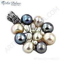 Celeb Style Pearl & Multi CZ Gemstone Silver Pendant