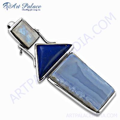 Trendy Multi Gemstone Silver Pendant