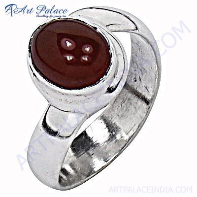 New Stylish Red Onyx Silver Gemstone Ring