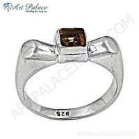 Fashionable Citrine Silver Gemstone Ring