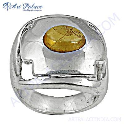 Festive Golden Rutil Sterling Silver Gemstone Ring