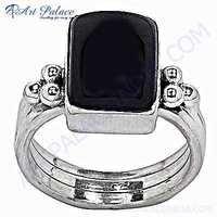 Hot Luxury Big Black Onyx Silver Gemstone Ring