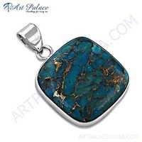 Ingenious Big Blue Coper Turquoise Gemstone Silver Pendant