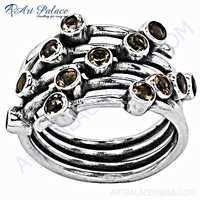 Elegant Fancy Citrine Silver Gemstone Ring