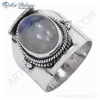 Unique  Rainbow Moonstone Silver Gemstone Ring