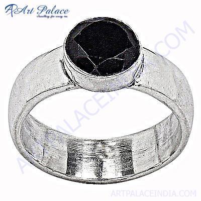 Latest Big Black Onyx Silver Gemstone Ring